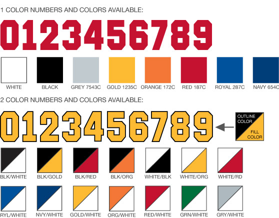 Athletic Numbers and Colors for Uniforms