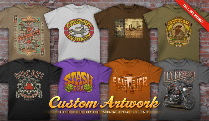 custom artwork, original designs, custom shirt, screen print, Keep Austin Weird