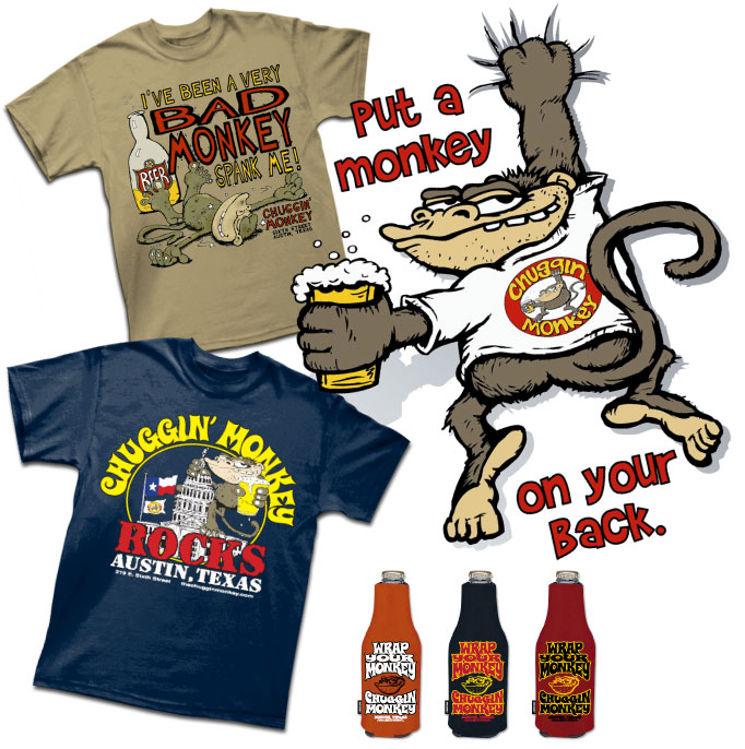 Custom screen printing in austin tx outhouse designs our work chuggin monkey negle Image collections